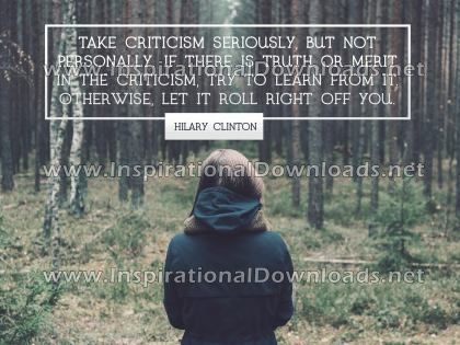 Criticism by Hilary Clinton (Inspirational Downloads)