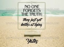No One Forgets The Truth by Richard Yates (Inspirational Graphic Quote by Inspirational Downloads)