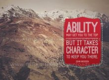 Ability And Character by John Wooden (Inspirational Graphic Quote by Inspirational Downloads)