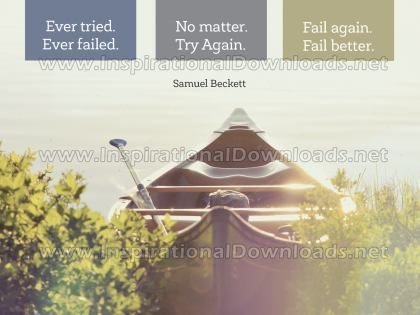 No Matter Try Again by Samuel Beckett (Inspirational Graphic Quote by Inspirational Downloads)