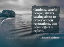 Cautious And Careful People by Susan B. Anthony Inspirational Graphic Quote