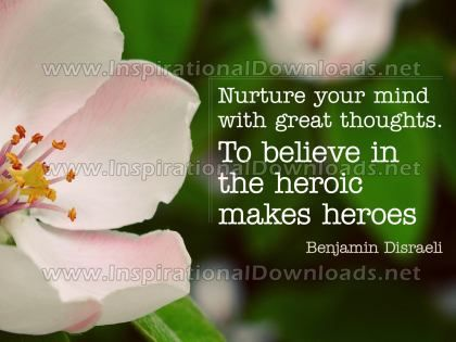 Mind With Great Thoughts by Benjamin Disraeli Inspirational Graphic Quote