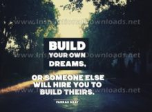 Build Your Own Dreams by Farrah Gray Inspirational Graphic Quote