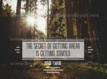 Secret Of Getting Ahead by Mark Twain Inspirational Graphic Quote