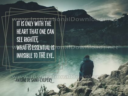 Only With The Heart by Antoine De Saint-Exupery Inspirational Graphic Quote