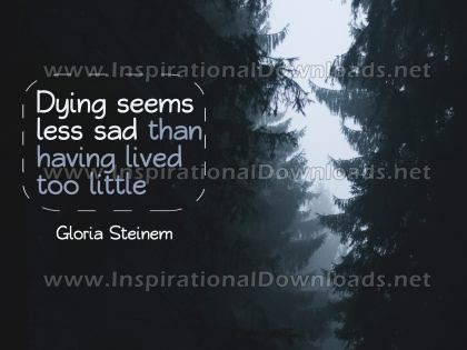Having Lived Too Little by Gloria Steinem Inspirational Graphic Quote