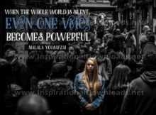 """One Voice Becomes Powerful by Malala Yousafsai Inspirational Graphic Quote"