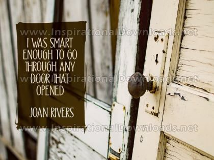 Go Through Any Door by Joan Rivers Inspirational Graphic Quote