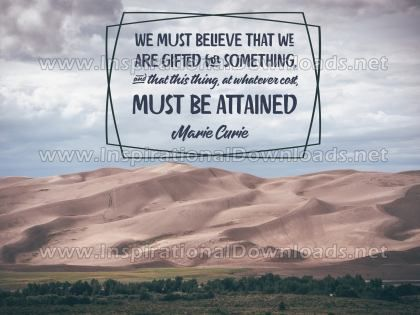 We Are Gifted For Something by Marie Curie Inspirational Graphic Quote