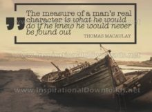 Man's Real Character by Thomas Macaulay Inspirational Quote Graphic