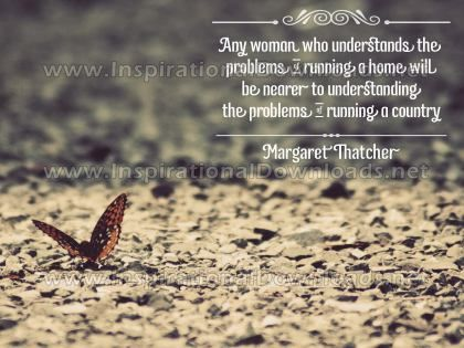 Running A Home by Margaret Thatcher Inspirational Quote Graphic