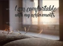 Comfortable With My Achievements by Inspiring Thoughts Inspirational Quote Graphic