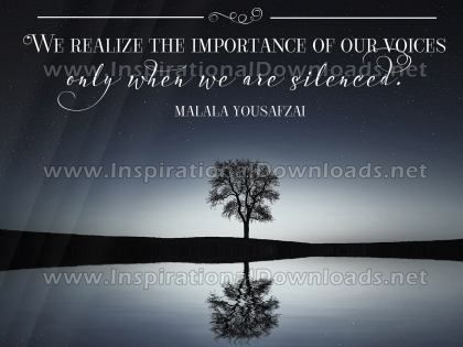 Importance Of Our Voices by Malala Yousafzai Inspirational Quote Graphic