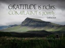 Gratitude Is Riches Inspirational Quote Graphic by Unknown