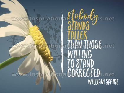Willing To Stand Corrected Inspirational Quote Graphic by William Safire