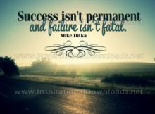 Failure Isn't Fatal Inspirational Quote Graphic by Mike Ditka