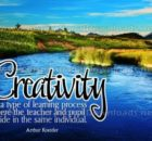 Creativity Type Of Learning Process Inspirational Quote Graphic by Arthur Koestler