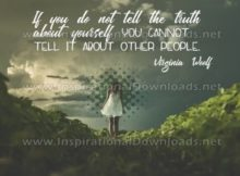 """Truth About Yourself Inspirational Quote Graphic by Virginia Woolf"