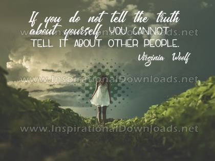 Truth About Yourself Inspirational Quote Graphic by Virginia Woolf