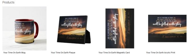 Your Time On Earth Inspirational Quote Graphic Customized Products