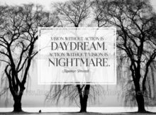 Vision Without Action Is Daydream Inspirational Quote Graphic by Japanese Proverb