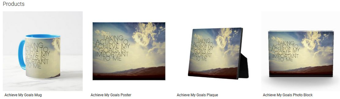 Achieve My Goals Inspirational Quote Graphic Customized Products