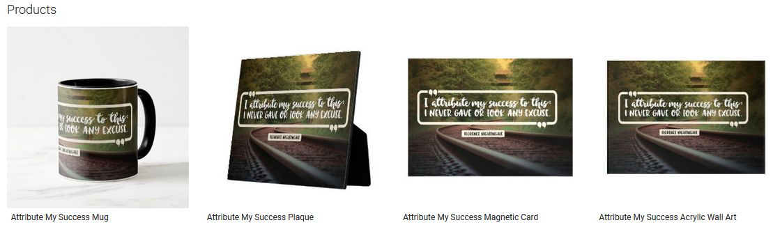 Attribute My Success Inspirational Quote Graphic Customized Products