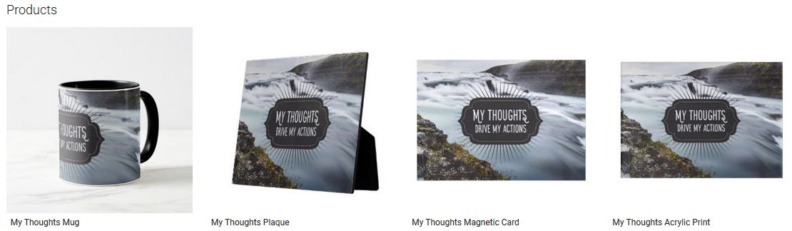 My Thoughts Inspirational Quote Graphic Customized Products