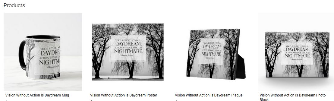 Vision Without Action Is Daydream Inspirational Quote Graphic Customized Products