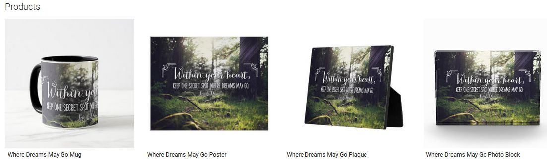 Where Dreams May Go Inspirational Quote Graphic Customized Products