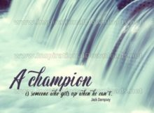 A Champion Inspirational Quote Graphic