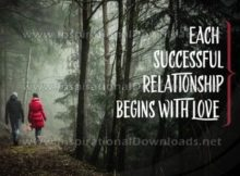 Successful Relationship Begins With Love Inspirational Quote Graphic