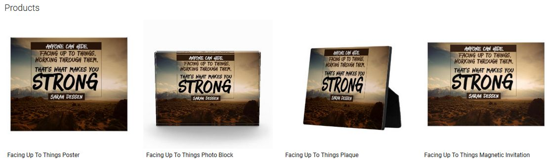 Facing Up To Things Inspirational Quote Graphic Customized Products