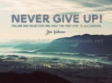 Never Give Up Inspirational Quote Graphic