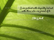 Patient With Stupidity Inspirational Quote Graphic
