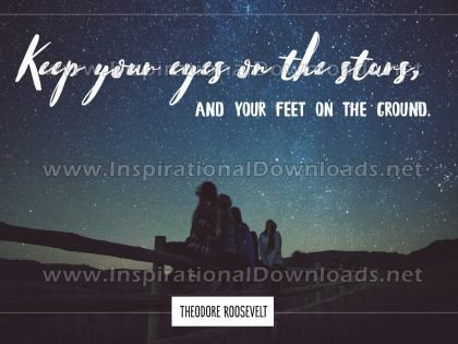 Keep Eyes On The Stars Inspirational Quote Graphic