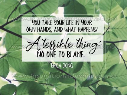No One To Blame Inspirational Quote Graphic