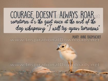 Courage Doesn't Always Roar Inspirational Quote Graphic