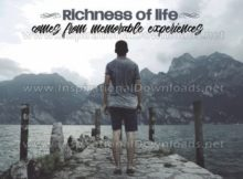 Richness Of Life Inspirational Quote Graphic