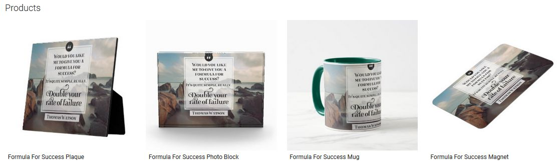 Formula For Success Inspirational Quote Graphic Customized Products