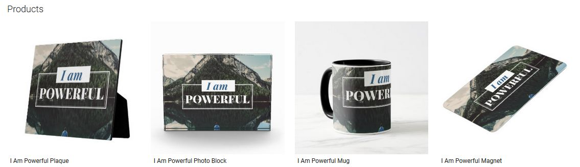 I Am Powerful Inspirational Quote Graphic Customized Products