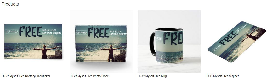 I Set Myself Free Inspirational Quote Graphic Customized Products