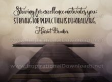 Striving For Excellence Inspirational Quote Graphic by Harriet Braiker
