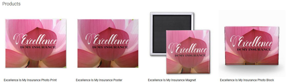 Excellence Is My Insurance Inspirational Quote Graphic Customized Products