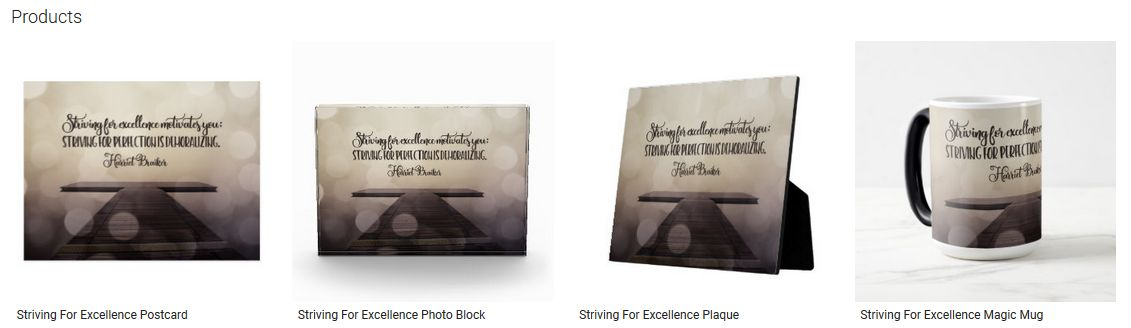 Striving For Excellence Inspirational Quote Graphic Customized Products