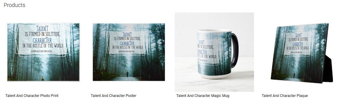 Talent And Character Inspirational Quote Graphic Customized Products
