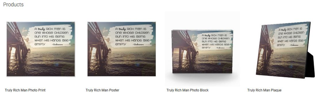 Truly Rich Man Inspirational Quote Graphic Customized Products