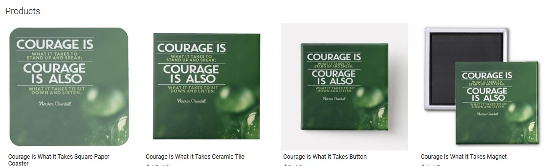 Courage Is What It Takes Inspirational Quote Graphic Customized Products