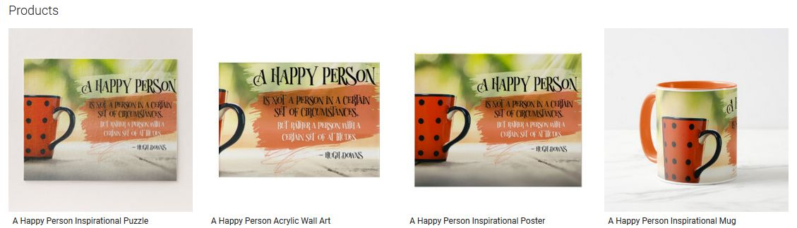 A Happy Person Inspirational Quote Graphic Customized Products