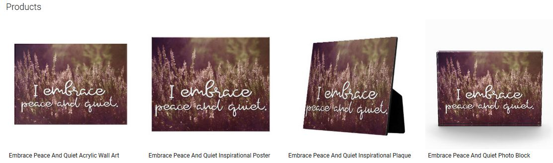 Embrace Peace And Quiet Inspirational Quote Graphic Customized Products